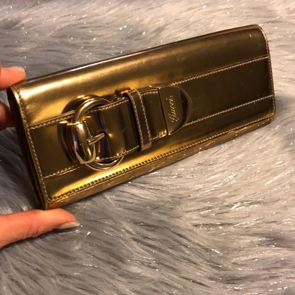 c94757c6bd667e Gucci Bags | Romy Metallic Gold Clutch | Poshmark